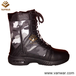 Black Leather Camouflage Military Boots with Durable Rubber Outsole (CMB026)