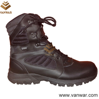 Black Leather Tactical Military Boots in Atheletic Cement (WTB032)