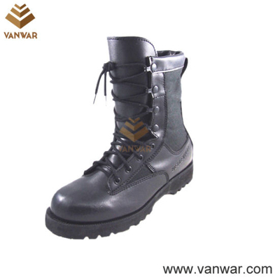 Black Full Grain Leather Military Combat Boots (WCB043)