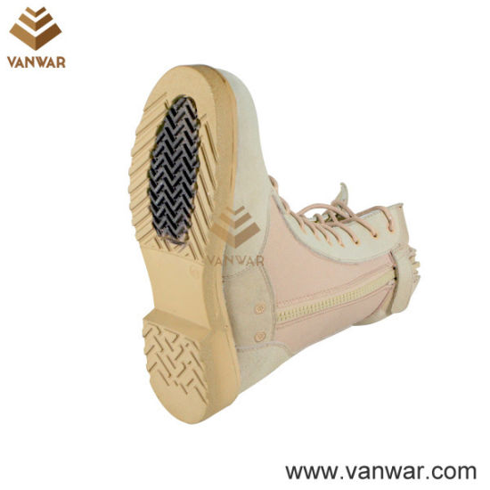 Side Zipper Suede Cow Leather Military Desert Boots with Athletic Cement (WDB011)