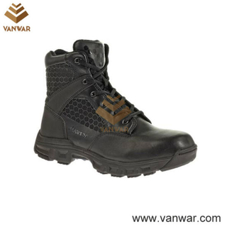 Split Leather Black Military Tactical Boots for Soliders (WTB025)